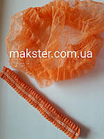 Одноразовая шапочка - гармошка оранжевая(100 шт)