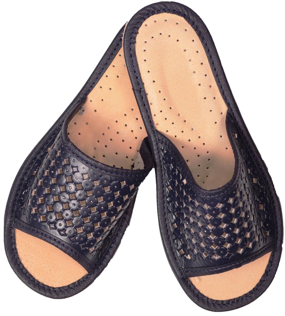 """Тапочки домашние женские кожаные """"Крапелька темно-синие"""""""