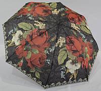 Эфффектный женский  зонт от дождя с крупными розами полуавтомат антиветер