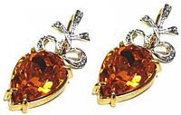"""Серьги """"Миндаль"""" с кристаллами Swarovski, покрытые золотом с родием (а582q125)"""