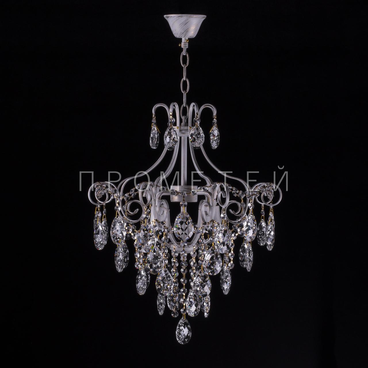 Хрустальная люстра, классическая на 4 лампочки .P5-E1144/4/WT+CH