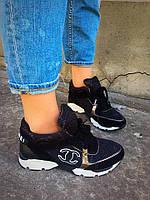 Женские замшевые кроссовки CHANEL черные