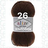 Пряжа для ручного и машинного  вязания Alize EXTRA (Экстра) акрил 26 коричневый