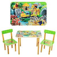 Столик 501-19 деревянный, 60-40см, 2 стульчика, конструктор, в кор-ке