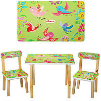Столик 501-6 деревянный, 60-40см, 2 стульчика, салатовые птички, в кор-ке