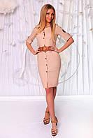 Женское строгое льняное платье на пуговицах в расцветках. ПН-32-0717