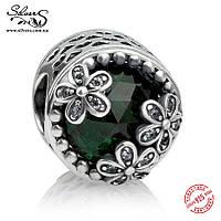 """Серебряная подвеска шарм Пандора (Pandora) """"Луг маргариток. Зеленый"""" для браслета бусина"""