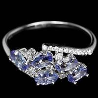 Кольцо танзанит натуральный с фианитами серебро 925