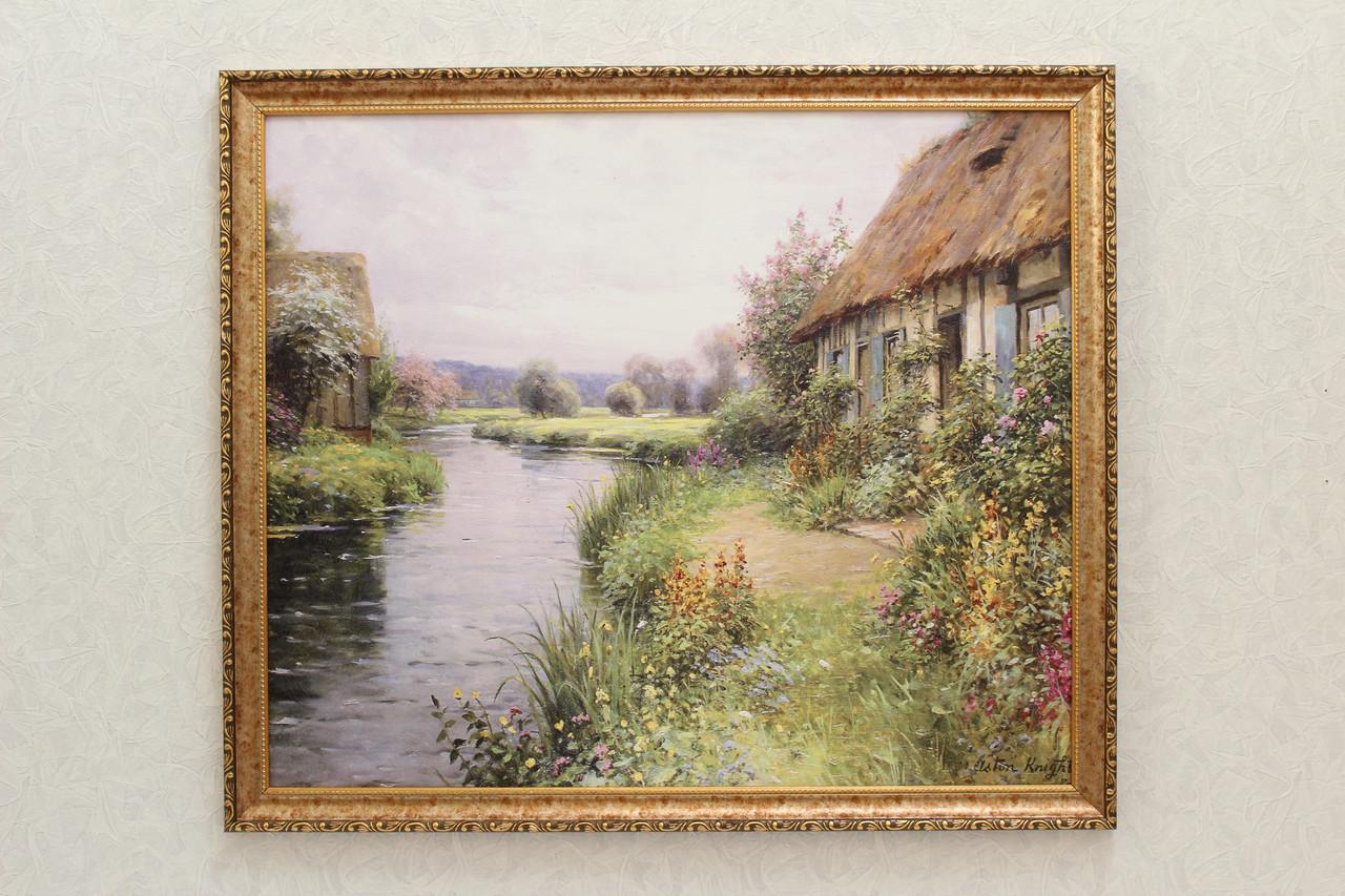 """Картина """"Домик в цветах у реки"""""""