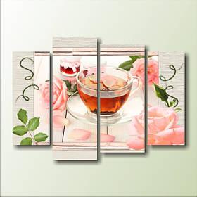 """Модульная картина """"Чай и розы"""""""