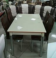 Стол стеклянный раскладной ТВ020 бежевый, 120/200*80*75 см