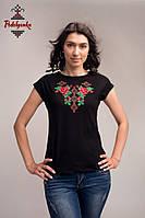 Жіноча блуза Троянди на чорному, рукав-кімоно, фото 1
