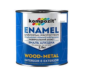 Эмаль алкидная KOMPOZIT ПФ-115 универсальная белая 2,8кг