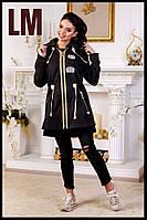"""Модная женская куртка """"Миа1""""44-54 парка осенняя весенняя голубая розовая демисезонная на молнии с капюшоном"""