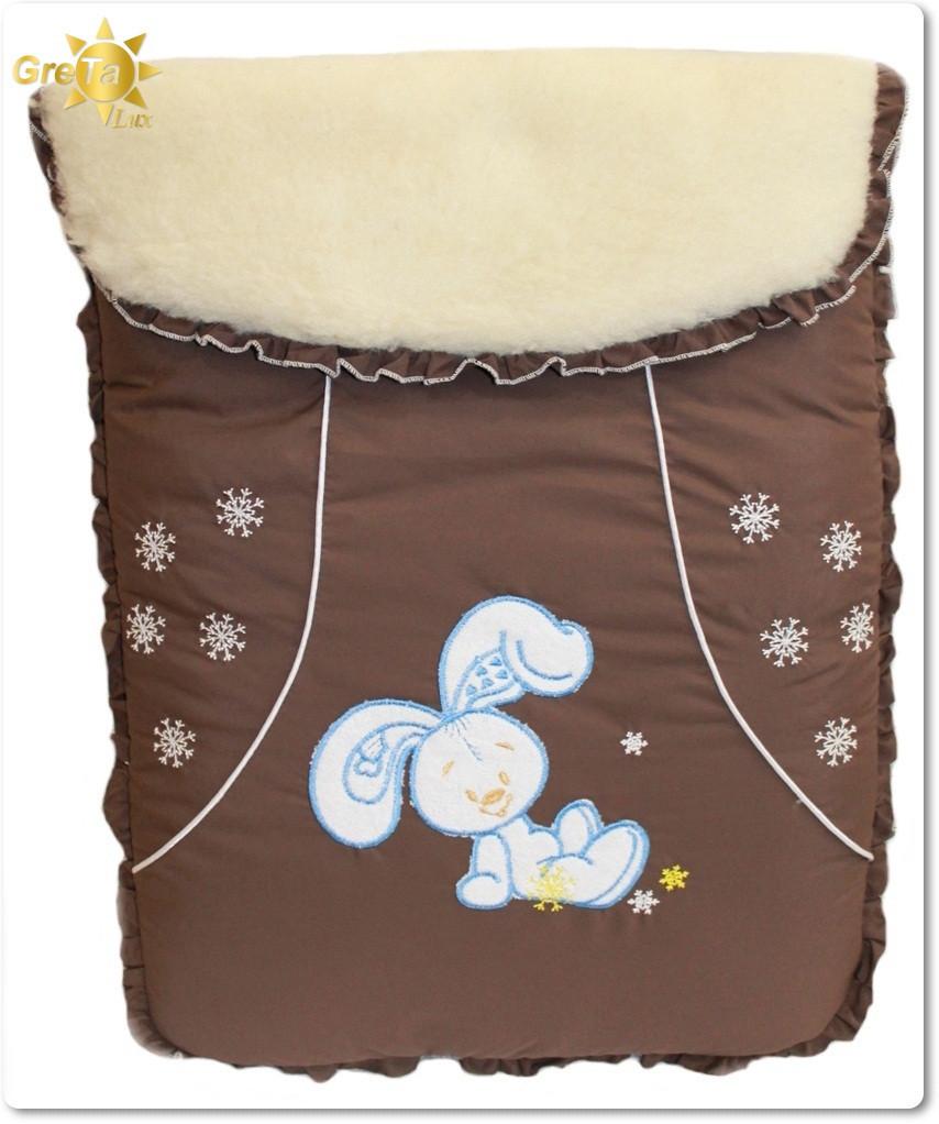 Детский меховый конверт для новорожденных Зайчик - зима (овчина)