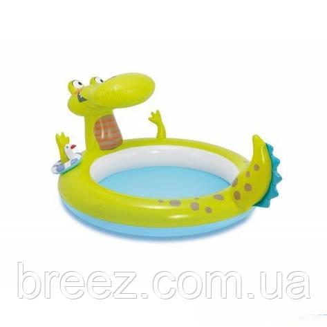Детский надувной бассейн Intex 57431 Крокодил с фонтаном 198 х 160 х 91 см, фото 2