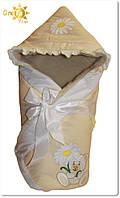Утепленный зимний конверт для новорожденных Ромашка