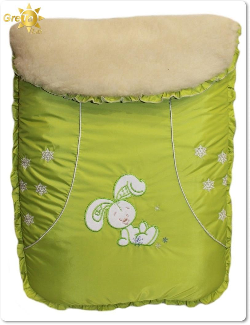Зимний детский конверт мешок Зайчик (овчина)
