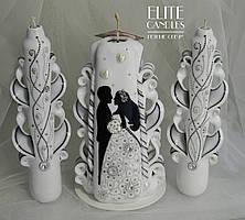 Білі весільні свічки в техніці точкова розпис - різьблені ручної роботи