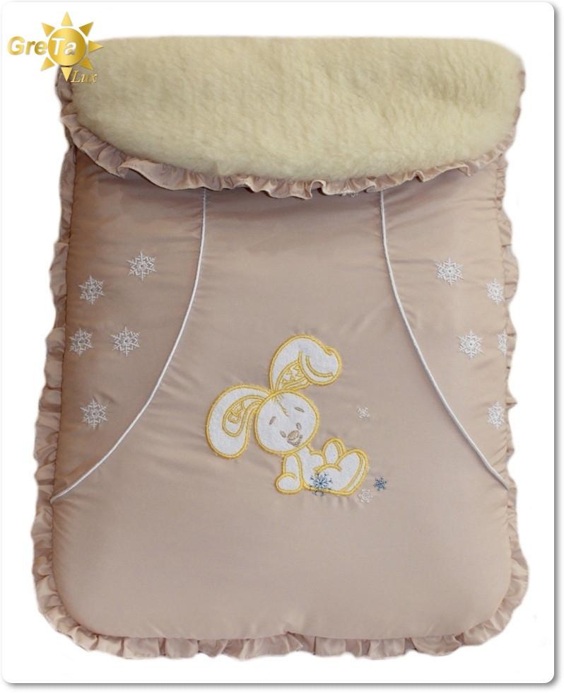 Зимний меховой конверт для новорожденных Зайчик (овчина)