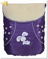 Зимний детский конверт на овчине для новорожденных Зайчик