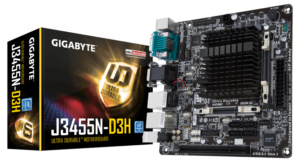 Материнская плата GIGABYTE GA-J3455N-D3H CPU Celer J3455 (2.3 GHz) Quad-Core VGA-HDMI 2xCOM mITX - Интернет-магазин MaxMix в Харькове