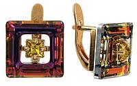"""Серьги """"Центариус"""" с кристаллами Swarovski, покрытые золотом (b828p170)"""
