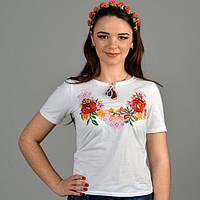 Женская трикотажная вышиванка Ліана белая