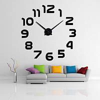 3D наклейка настенные часы 002B (Арабские цифры черные)