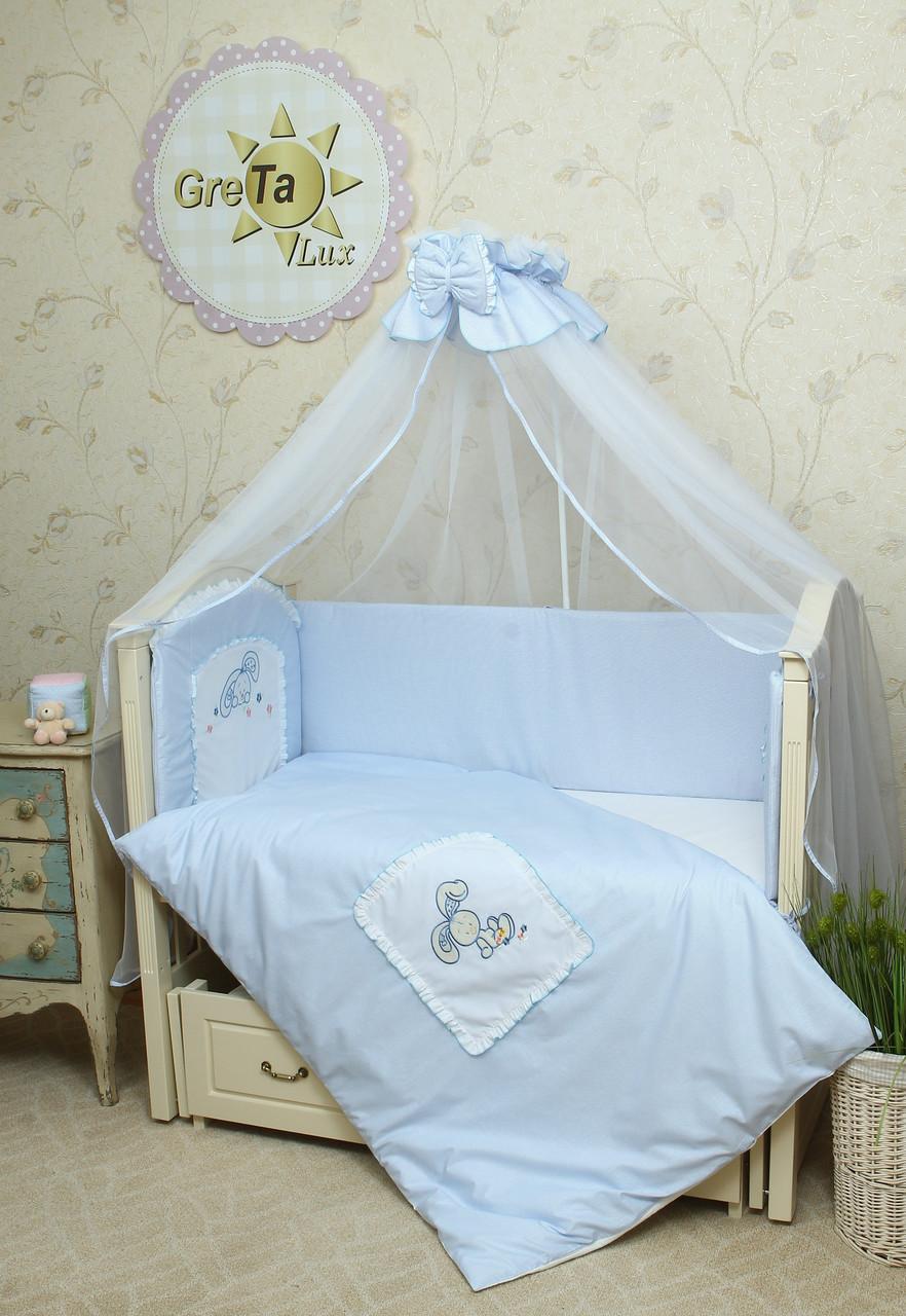 Детский комплект постельного белья в кроватку Зайчик