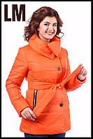 """Женская красивая куртка """"Лия"""" 44-54 батал осенняя весенняя короткая теплая демисезонная на молнии с капюшоном"""