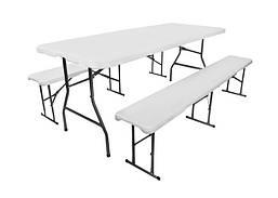Складной стол туристический 180 см и 2 скамейки стальная конструкция