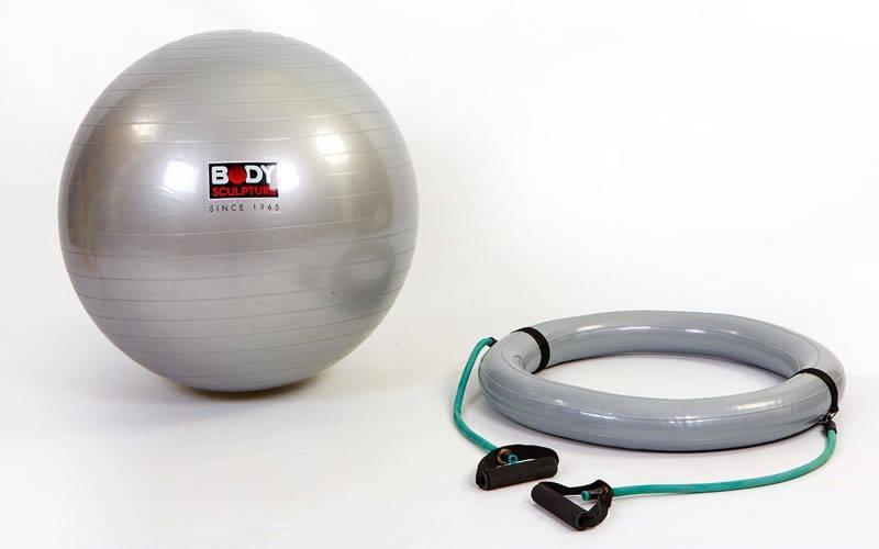 Мяч для фитнеса с эспандерами и надувной базой SOLEX гладкий 65см