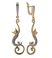 """Серьги """"Мисс Китти"""" с кристаллами Swarovski, покрытые золотом с родием (m399q100)"""