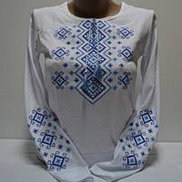 Трикотажная футболка вышиванка длинный рукав