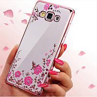 Розовый чехол-накладка с камушками Сваровски для Samsung Galaxy A7 2015