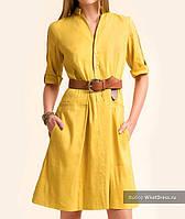 Желтое яркое льняное платье сафари стиль! Шикарная модель, прекрасный фасон. Единственное в своем роде!