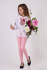 Вишиванка для дівчинки з червоним візерунком, фото 3