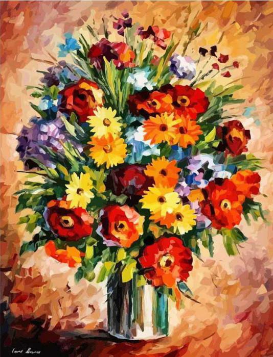 Рисование по номерам Идейка Яркие цветы худ. Леонид Афремов (KHO2057) 40 х 50 см (без коробки)