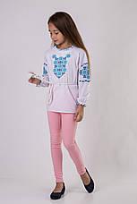 Вышиванка для девочки с синим узором, фото 2
