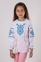 Вышиванка для девочки с синим узором