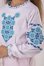 Вышиванка для девочки с синим узором, фото 3