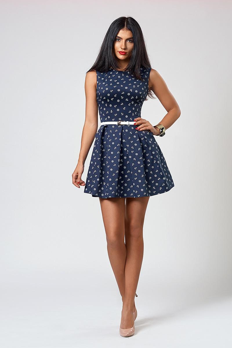 Платье  мод 385 -15 размер 44 синий якорь