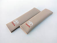 Накладки на ремни безопасности автомобиля с логотипом Toyota Бежевый