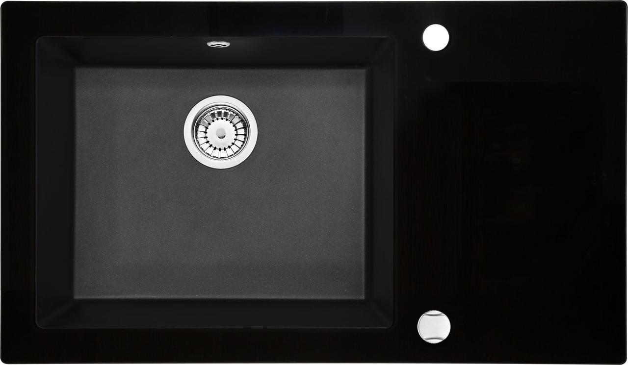 Кухонная мойка Deante CAPELLA стекло (черное)/гранит (графитовый металлик) край граненый