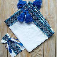Крестильный набор: крыжма с вышивкой+мешочк для 1 локона