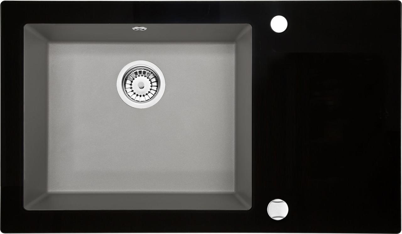 Кухонная мойка Deante CAPELLA стекло (черное)/гранит (серый металлик) край круглый
