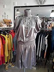Жіноче плаття дизайнерське вечірню літню сіре атласс, фото 3