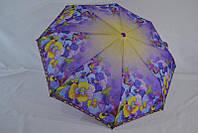 Зонт женский с красивыми цветами анти-ветер полуавтомат  надежный защитник от дождя