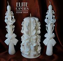 Весільні свічки білого кольору для церемонії запалювання сімейного вогнища